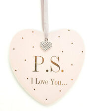 MAD DOTS...P.S I LOVE YOU HANGING HEART PLAQUE