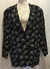 Fritzi Plus Women Career Work Casual Black White Floral Light Jacket Size 18W