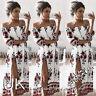 UK Womens Bandeau Holiday Dress Ladies Summer Paisley Split Maxi Dress Size 6-14