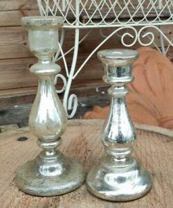 2 bougeoirs anciens verre églomisé mercurisé/old glass candle holder