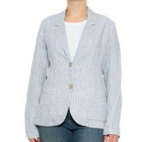 Tahari Blue Stripe 100% Linen Blazer Career Work Jacket Womens Size Small S