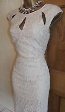 WALLIS ❤️  RRP £50 LOVELY NUDE MOCHA WIGGLE LACE  BALL DRESS SIZE 10 WEDDING