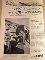 """1955 VTG Magazine Print Ad 8""""X11"""" Airlines Fly TWA Airlines"""