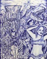ORIGINAL PRISON ART DRAWING 11x14 HIGHLY DETAILED!  DINOSAURS VOLCANO CAVEWOMEN
