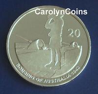 "20 Cent Coin 2012 Shores Under Siege "" Bombing of Australia 1942 "" 20c UNC"