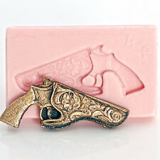 Western pistol silicone mold for jewelry or cupcake toppers - easy to use  (935)