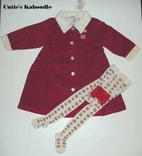 Nwt New Hanna Andersson Holiday Red Coat Dress Ruffle Tights 2pc Set 2T 3T 90