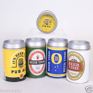 BEER LAGER CAN ALARM WITH CLOCK FACE AT ONE END CHOICE OF DESIGNS ***NEW***