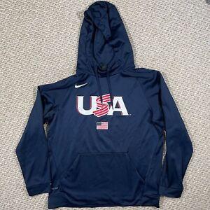 Nike Mens USA Hockey Team Hoodie Sweatshirt Pullover Dri-Fit Blue Size Large