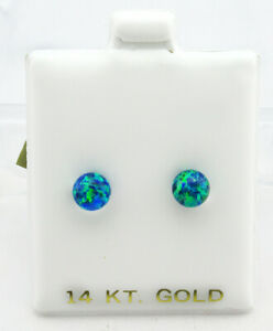 GENUINE OPALS STUD EARRINGS 14k YELLOW GOLD *** New With Tag & FREE Gift Box ***