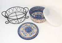 Temp-tations By Tara Old World 4 Piece Set Blue Bowl Trivet Wire Rack Lid 1.5 qt