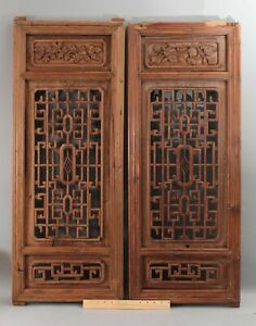 Pair Authentic Chinese Hand Carved Wood Framed Wall Panels NO RESERVE