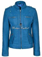 New Ladies Electric Blue Military Style Real Soft Lambskin Leather Jacket 1148