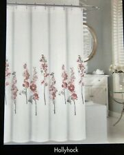 Tahari Watercolor Hollyhock Floral Cotton Fabric Shower Curtain White Rose Olive