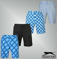 Mens Slazenger Zip Fly Belt Loops Split Hems Chequered Golf Shorts 30-40
