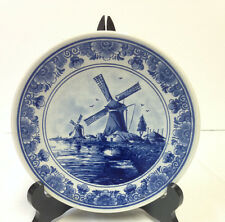 Vintage DELFT BLAUW Raised Plate Dish Hand Painted In Holland Windmill  7""
