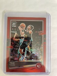 TRAE YOUNG BASE RED PARALLEL /99 HAWKS - 2020-2021 DONRUSS OPTIC