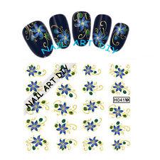 20 Nail art Stickers Water Transfer-Tattoo Adesivi FIORI Blu-decorazioni d'Oro