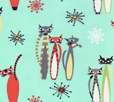 Michael Miller Retro – Atomic Tabby Kitty Cats on Aqua 100% Cotton Fabric - FQ