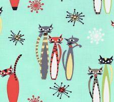 Michael Miller Retro – Atomic Tabby Kitty Cats on Aqua 100% Cotton Fabric - FQ