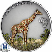 Gabun 1000 Francs2016 Giraffe Silver Ounce Antique Finish Münze in Farbe