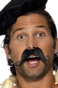 Frenchman Moustache Black Waiter French Stag Do Mens Fancy Dress Accessory New