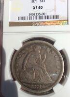 1871 $1 Liberty Seated Dollar NGC XF 40 Extra Fine 40 Original Patina Beauty