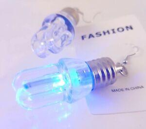 Fashion Hook Dangle Earrings Light-up Flashing Multicolor Light Bulb U-Shape