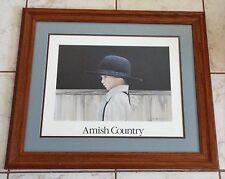 Beautiful Large Print Amish County Small Boy Artist Nancy Noel Oak Frame. VGC