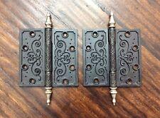 """Pair Of Antique Steel Chrome Steeple Top Black Door Hinges 5"""" X 5"""" Pat'd 1877"""