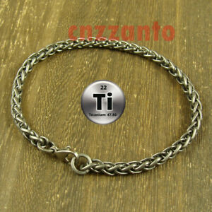 Totally Pure Titanium Ti 5mm width anti allergy Bracelet wheat chain H712