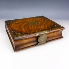 Antique Oak & Silver Plated Metal Book Formed Bible Box - Lovely!