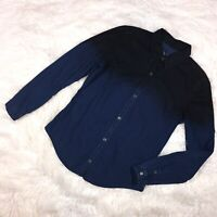 BLANK NYC Womens Denim Top Medium Black Blue Coated Cotton Button Up Ombre Fade