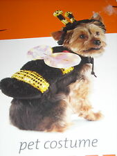 XS LED Bee DOG pet costume body head elastic waist band draw on top lights up -