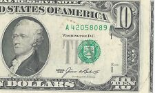 1985 $10 Error Alignment Print Shift-See 2Nd Note 8098A Very Hard To Find