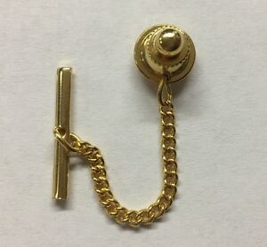 LOCKING GOLD PLATED TIE TACK PIN BACKS WITH CHAIN NEW OLD STOCK