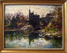 Castle in Central Park, New York - Original Oil Painting+Frame by Oleg Levin