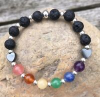 HANDMADE Childs Lava Stone & Semi-Precious Stone Essential Oil Diffuser Bracelet