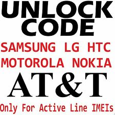 ATT Samsung Nokia HTC Motorola etc Premium Unlock Code Only For Active Line IMEI