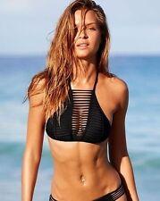 NWT Victorias Secret Strappy High Neck Caged Halter Bikini Top Black M