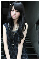 Womens Ladies Black Long Curly Wave Cosplay Party Costume Hair Full Wig