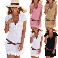 Women Lace V-Neck Summer Casual Loose T-Shirt Dress Tops Short Sleeve Plus Size