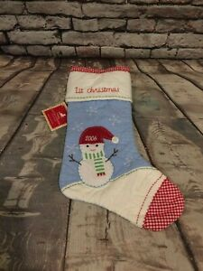 POTTERY BARN KIDS SNOWMAN CHRISTMAS STOCKING BLUE QUILTED 1st Christmas 2006