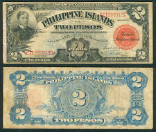 1929 US Philippines 2 Pesos Treasury Certificate Banknote #1