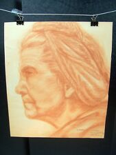 Weathered Woman Profile Portrait Orange Pencil Sketch 1948 by C. Schattauer