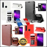 Etui housse coque Cuir PU Leather Wallet Case Motorola Moto G8 Play/One Macro