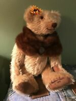 Ooak Collectable Teddy Bear Beautiful Mohair Glass Eyes Real Mink Shawl Suade P