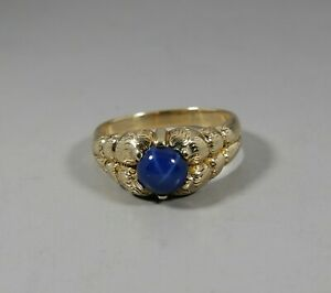 14K YELLOW GOLD SYNTATIC BLUE STAR SAPPHIRE RING SIZE 10.5