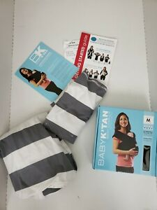 Baby K'tan ORIGINAL Cotton Wrap-style Baby Carrier size Medium - Charcoal/White