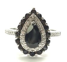 Sterling Silver 925 Pear Black Onyx Halo Textured Tear Drop Cocktail Band Ring 7